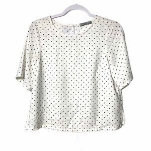 3/$25 DALIA WHITE BLACK DOT SHORT SLEEVE TOP